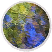 Tangerine Twist Mosaic Abstract Art Round Beach Towel by Christina Rollo