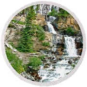 Tangle Falls Along Icefield Parkway In Alberta Round Beach Towel