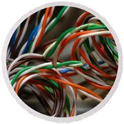 Tangle Of Colorful Wires Round Beach Towel