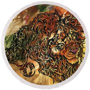 Tangled Lion Round Beach Towel
