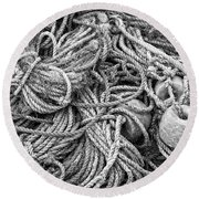 Tangled Rope And Lobster Fishing Gear On Dock Maine Round Beach Towel