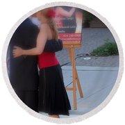 Tango Dancing On The Street Round Beach Towel
