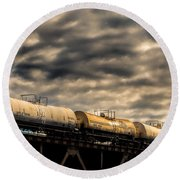 Tank Cars Round Beach Towel by Bob Orsillo