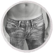 Tanline In Jeans Black And White Round Beach Towel