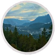 Tantalus Mountain Afternoon Landscape Round Beach Towel