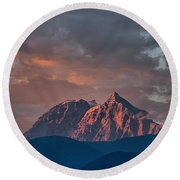 Tantalus Mountain Sunset - British Columbia Round Beach Towel