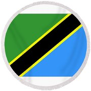 Tanzania Flag Round Beach Towel