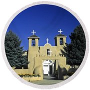 Taos Adobe Church Round Beach Towel