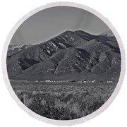 Taos In Black And White II Round Beach Towel
