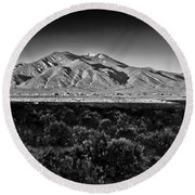 Taos In Black And White X Round Beach Towel