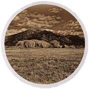 Taos Mountain In Platinum  Round Beach Towel