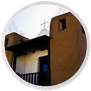 Taos Pueblo Church 2 Round Beach Towel