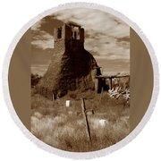 Taos Pueblo Graveyard Round Beach Towel