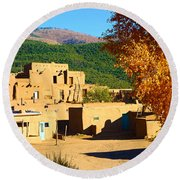 Taos Pueblo South In Autumn Round Beach Towel