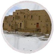Taos Pueblo With Snow Round Beach Towel