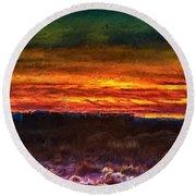 Taos Sunset Lx - Homage Turner Round Beach Towel