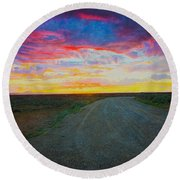 Taos Sunset On Rice Paper Round Beach Towel