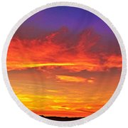 Taos Sunset Xxxx Round Beach Towel