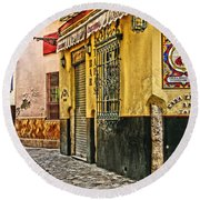 Tapas Bar In Sevilla Spain Round Beach Towel