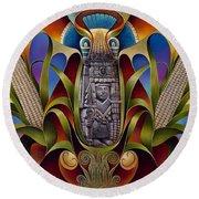Tapestry Of Gods - Chicomecoatl Round Beach Towel