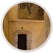 Tapestry Wall At Church Of The True Cross Round Beach Towel