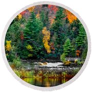 Taquamenon Lower Falls And Observation Deck. Round Beach Towel