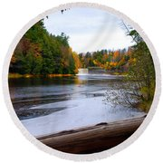 Taquamenon River And Lower Falls  Round Beach Towel