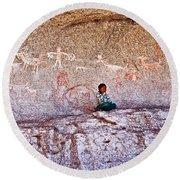 Tarahumara Boy In Painted Cave Near Chihuahua-mexico Round Beach Towel