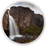 Taranaki Falls In Tongariro Np New Zealand Round Beach Towel
