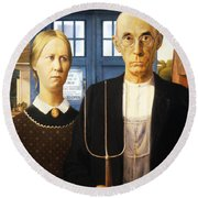 Tardis V Grant Wood Round Beach Towel