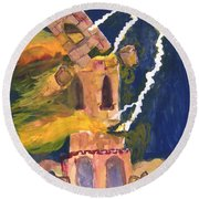 Tarot 16 The Tower Round Beach Towel
