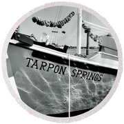 Tarpon Springs Spongeboat Black And White Round Beach Towel