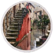 Tarquinian Red Stairs Round Beach Towel