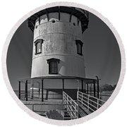 Tarrytown Lighthouse Bw Round Beach Towel