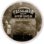 Tassajara Hot Springs Stage Monterey Co. California Circa 1910 Round Beach Towel