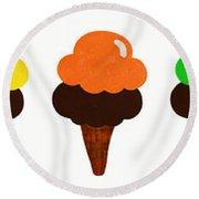 Taste The Ice Cream Rainbow Round Beach Towel