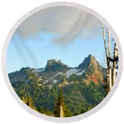 Tatoosh Range In August. Mt Rainier National Park Round Beach Towel