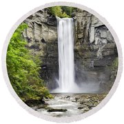 Taughannock Falls And Creek Round Beach Towel