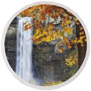 Taughannock Falls And Maple Round Beach Towel