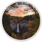Taughannock Falls Autumn Sunset Round Beach Towel