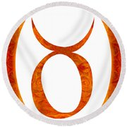 Taurus And Sacral Chakra  Abstract Spiritual Artwork By Omaste W Round Beach Towel