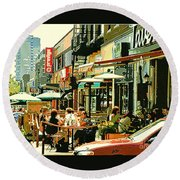 Tavern In The Village Urban Cafe Scene - A Cool Terrace Oasis On A Busy Hot Montreal City Street Round Beach Towel