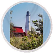 Tawas Point Lighthouse...from Tawas Bay Side Round Beach Towel