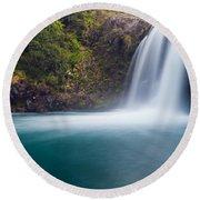 Tawhai Falls In Tongariro Np New Zealand Round Beach Towel