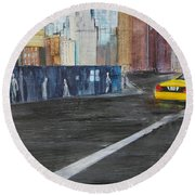 Taxi 9 Nyc Under Construction Round Beach Towel