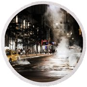 Taxi And Smoke Round Beach Towel