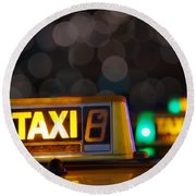 Taxi Signs Round Beach Towel