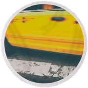 Taxi Taxi Round Beach Towel by Karol Livote