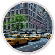 Taxicabs Of New York City Round Beach Towel