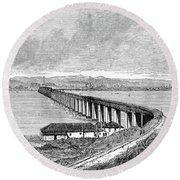 Tay Rail Bridge, 1879 Round Beach Towel